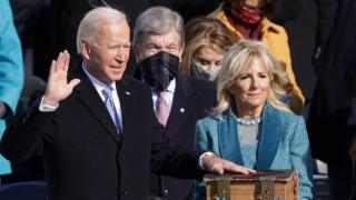 Joe Biden is sworn in as the 46th president of the United States on the West Front of the U.S. Capitol on Wednesday. Credit: Getty Images/Alex Wong